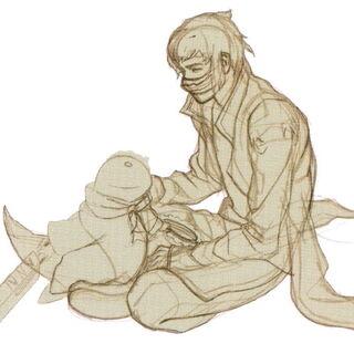 Artwork of Kurasame and his tonberry.