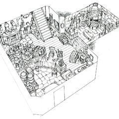 Concept art of a Nibelheim residence.