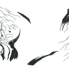 Cecil and Kain faceplate artwork by Yoshitaka Amano for <i>Final Fantasy IV</i> (GBA).