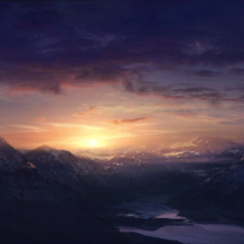 Concept painting of the Caspian Mountains