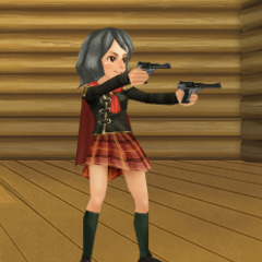 An avatar with King's handguns from the Square Enix Members Virtual World.