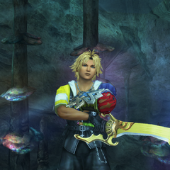 Tidus's underwater victory pose.
