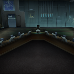 The briefing room on floor 49.