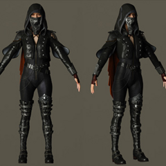 Character model with hood and mask.