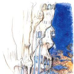 Artwork of Alexander from <i>Final Fantasy IX</i> by Yoshitaka Amano.