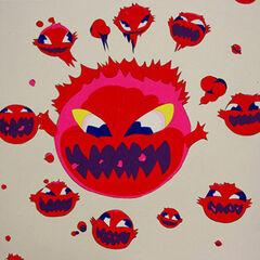 Yoshitaka Amano artwork of the Bomb from the 2008 Deva Loka art exhibition.