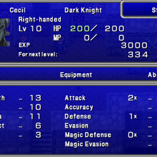 First screen in the Status menu in the PSP version.