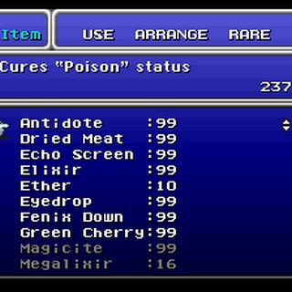 The Item menu (SNES).