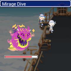Locke performing Mirage Dive in <i>Final Fantasy Airborne Brigade</i>.