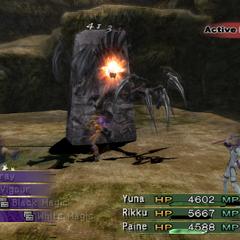 Rikku as a Berserker attacking in <i><a href=