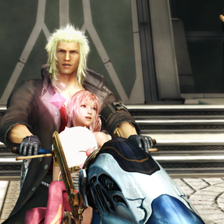 Snow, Serah and Mog about to fly off in