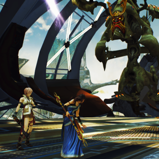 Lightning, Vanille, and Fang confront the <i>Proudclad</i>.