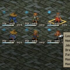 Party roster in <i>Final Fantasy Tactics</i>.
