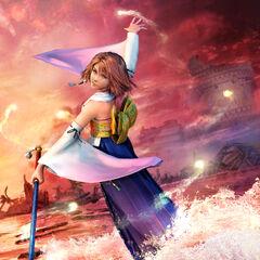 Artwork of Yuna performing the sending.