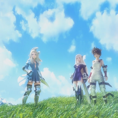 Edea, Magnolia and Tiz in the opening FMV.