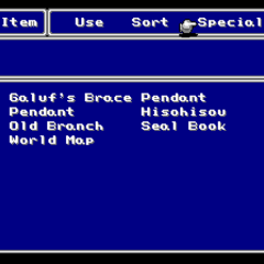 The Key Item menu in the SNES version.
