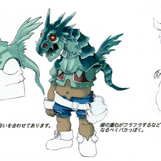 Concept art of Baku in his the dragon mask.