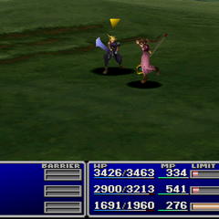 Aerith using an item on an enemy in <i><a href=