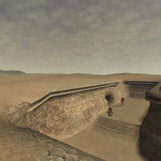One of many ruins buried under the sands of the desert.