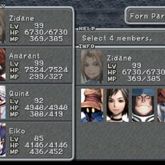 <i>Final Fantasy IX</i> party selection screen.
