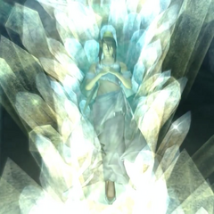 Lucrecia crystallized in <i>Dirge of Cerberus -Final Fantasy VII-</i>.