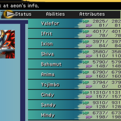 The Aeon menu (PS2).