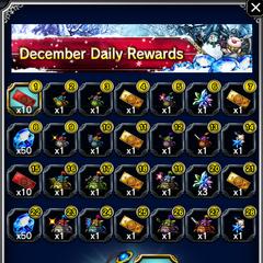 December 2016 Daily Rewards for global release.