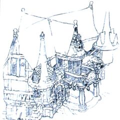 Concept art of the inn.