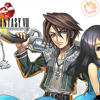 Promotional artwork featuring Squall and Rinoa.
