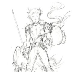 Sketch of Cloud and Red XIII by Amano.