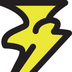 Yellow lightning schema icon, Piggyback guide.