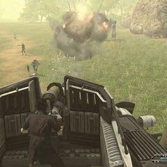 Noctis controlling a gun turret.