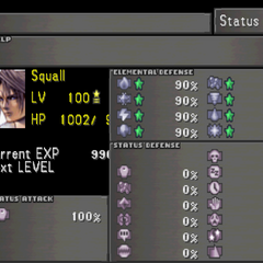 The second Status screen, showing off elemental and status resistances.