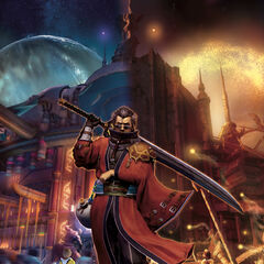 Promotional artwork of Auron across both Dream Zanarkand (left) and true Zanarkand (right).