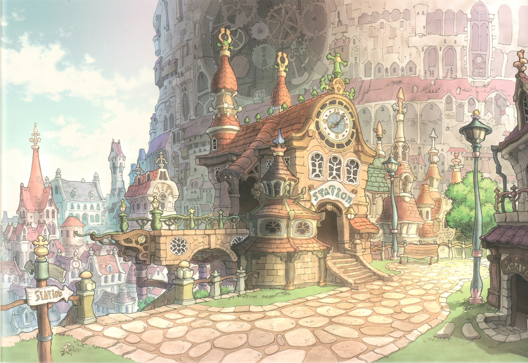 Watercolor artists directory wiki - Image Lindblum Theater District Ff9 Color Art Jpg Final Fantasy Wiki Fandom Powered By Wikia