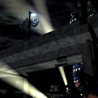 Beneath the Midgar Highway in an FMV from <i>Final Fantasy VII</i>.
