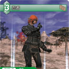 Trading Card of an Elvaan as a Ninja.