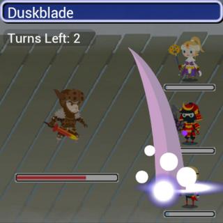 Duskblade in battle.