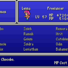 The Summon Magic menu in the GBA version.