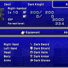 Second screen in the Status menu in the PSP version.