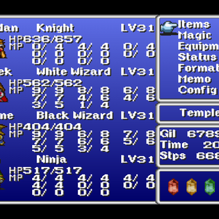 Menu in the PSX version.