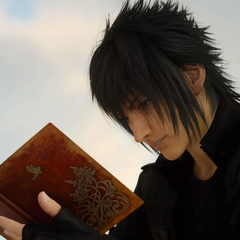 Noctis reads the notebook before heading off to Altissia.