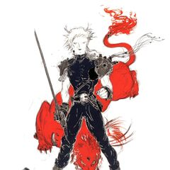 Yoshitaka Amano artwork of Cloud and Red XIII.