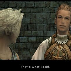 Balthier in the Nalbina Dungeons with Vaan and Fran.