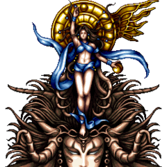 Battle sprite of the Goddess (iOS/Android/PC).