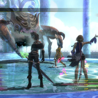 Fighting Boris in <i>Final Fantasy X-2 HD Remaster</i>.