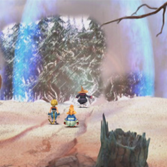 A black mage dispels the illusion of the Dead Forest.
