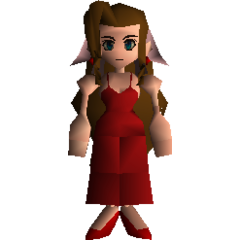 Aeris in her Wall Market dress.