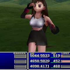 Tifa using an item on an ally in <i><a href=