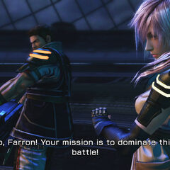 A screenshot from the DLC battle in <i>Final Fantasy XIII-2</i>.